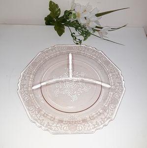Vintage light pink Depression glass divided plate